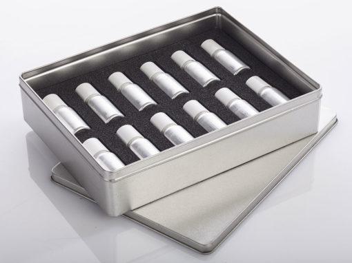 Calage mousse plastazote pour présentation d'échantillons de parfum