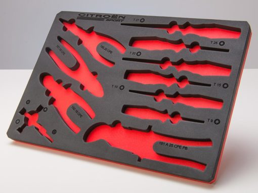 Mousse de rangement outils bicolore avec marquage laser