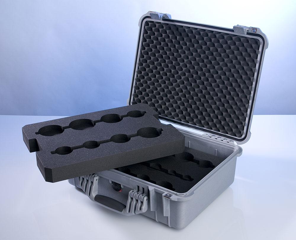 valise de demonstration avec mousse en plastazote sur mesure