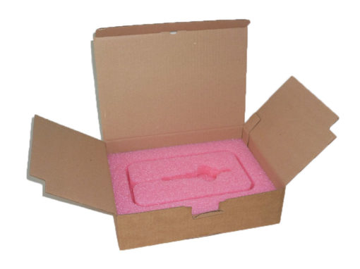 Emballage carton + mousse multilames antistatique rose