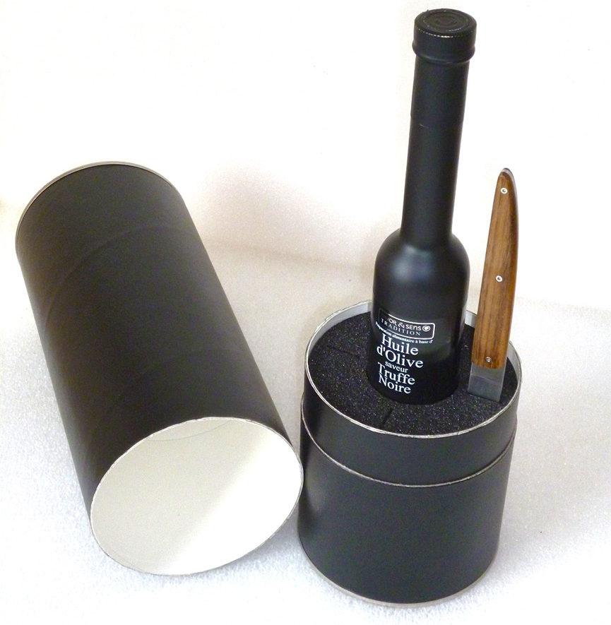Mousse plastazote presentation bouteille huile d'olive