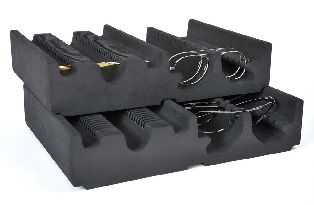 Plateaux gerbables en mousse pour atelier usine d'optique