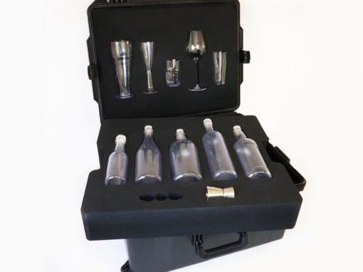 Mousse pour valise solide de présentation de verres et bouteilles