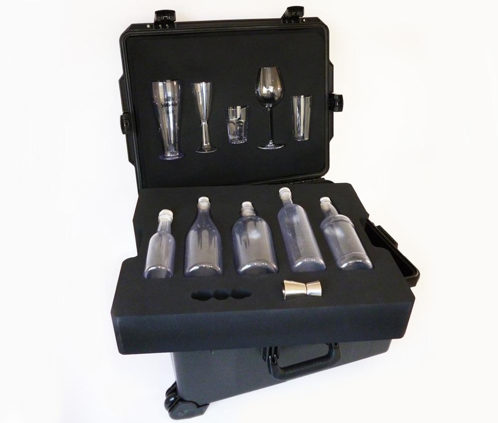 mousse pour valise solide de presentation de verres et bouteilles