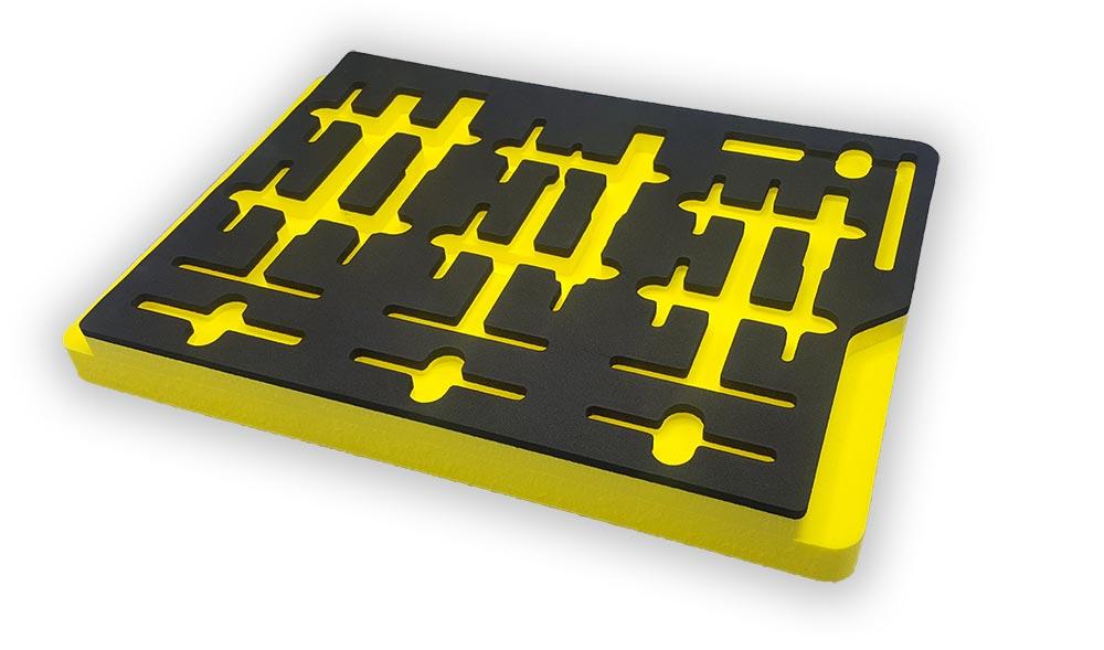 Calage mousse pour rangement outil foreign object damage jaune et noir