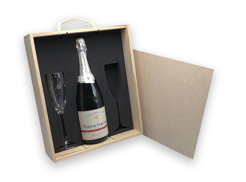 Coffret bois avec mousse PU, bouteille de champagne et verre personnalisé gravé