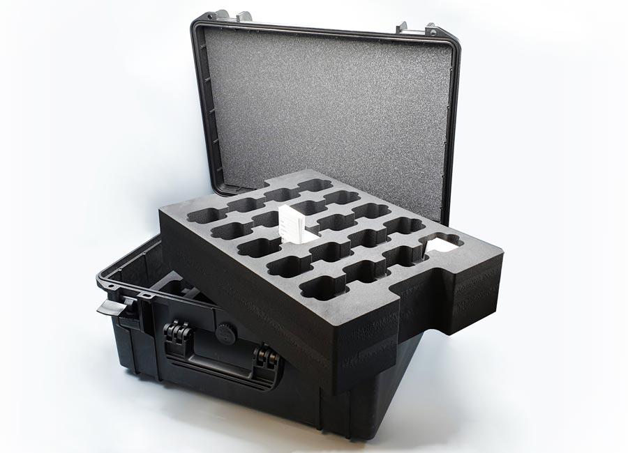 Valise avec mousse pour ranger des echantillons