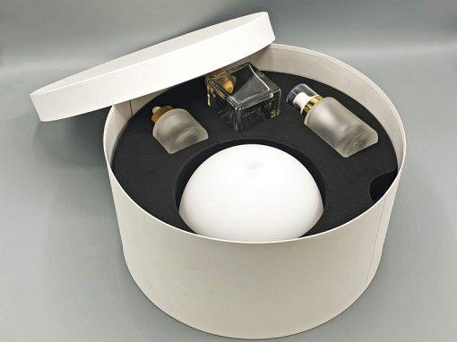 Emballage cosmétique mousse rigide et carton rond