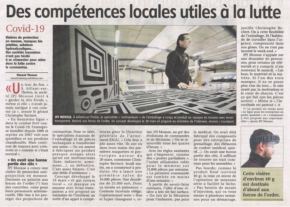 visieres protection article Yonne Republicaine
