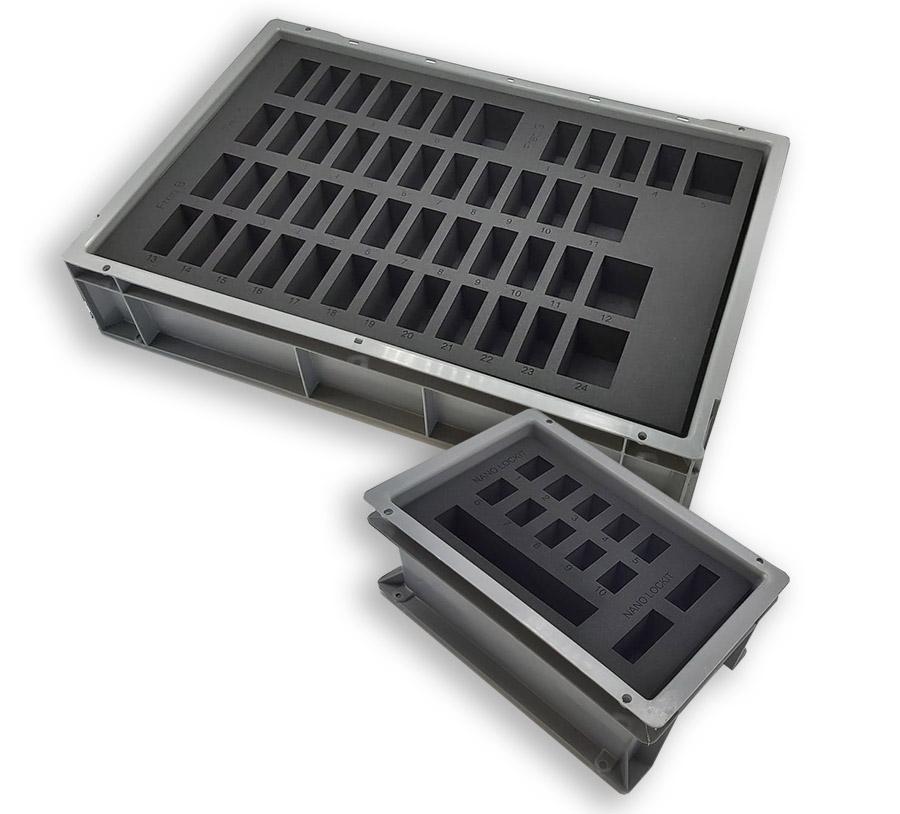 mousse de calage compacte découpée sur mesure dans bac gris