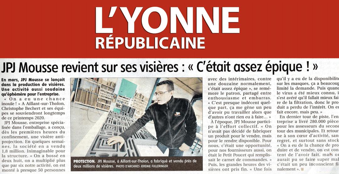 Article de l'Yonne Républicaine sur les visières de protection