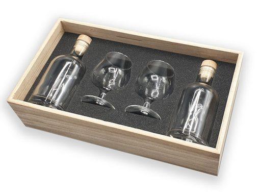 Coffret bois avec calage mousse pour verres et bouteilles